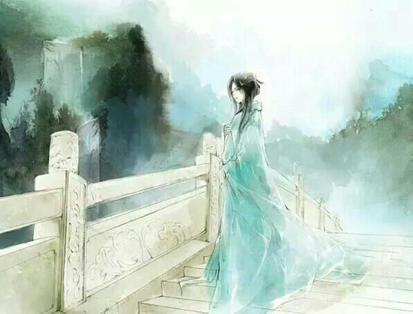她在桥上尝雨